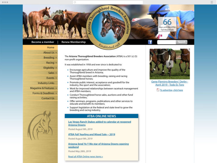 Arizona Thoroughbred Breeders website