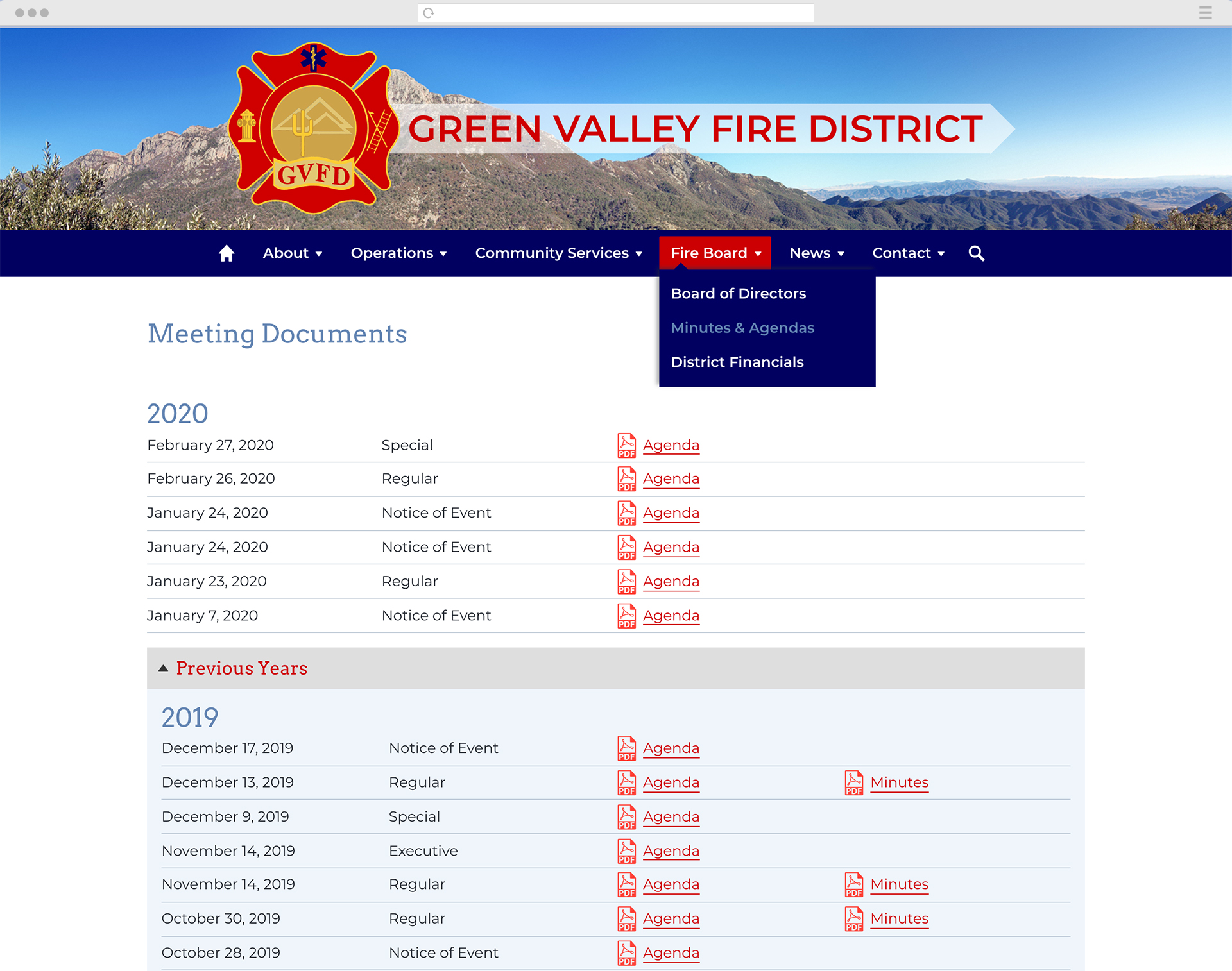 Green Valley Fire District website